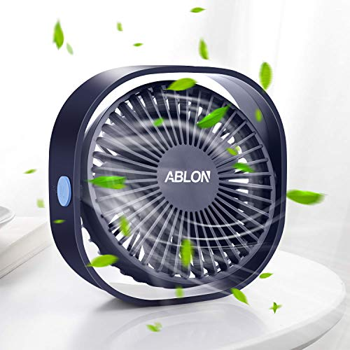 Ablon Desk Fan, Small Table Personal Portable Mini Fan Powered by USB, 3 Speed and Quiet Design for Office, Home,Outdoor Travel?Navy Blue?