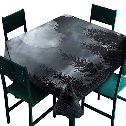 DONEECKL Square Tablecloth Halloween Magic Castle Design Excellent Durability W63 -
