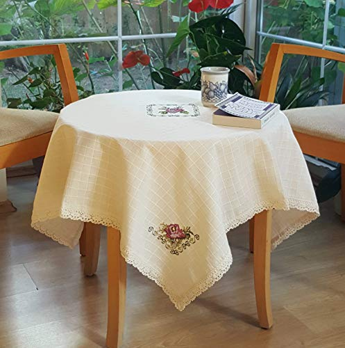 Secret Sea Collection Handmade Cotton Purple Rose Embroidery Tablecloth (42
