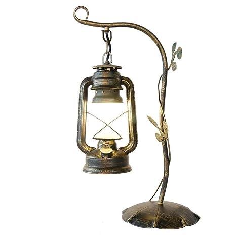 MUTANG Lámpara de mesa de hierro forjado retro vintage con ...