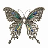 Large Sterling Silver & Marcasite Butterfly Brooch with Multi Color Enamel Wings