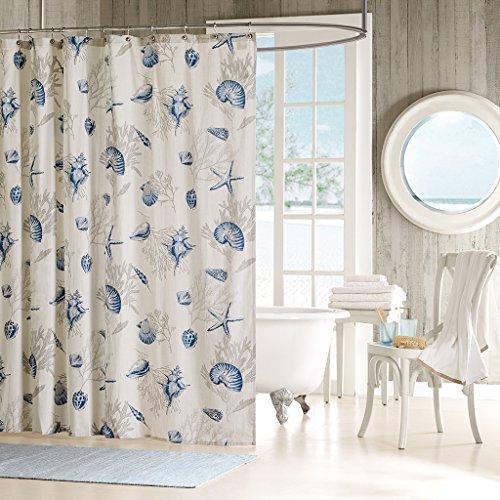 Madison Park Bayside Shower Curtain Coastal Printed 100% Cotton Sateen Fabric Modern Casual Home Bathroom Decorations, 72x72, Blue (Madison Curtain Park Shower Blue)