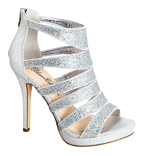 De Blossom Collection Marna-69 Stiletto Heel Ankle Strappy Pumps Sandals Silver 8