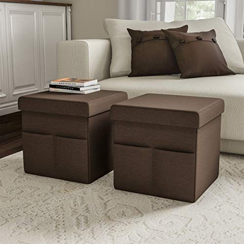 Lavish Home 80-FOTT-2 Foldable Storage Cube Ottoman with Pockets – Multipurpose Footrest Organizer for Bedroom, Living Room, Dorm or RV (Pair, Linen Brown),
