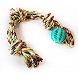 Thick Dog Rope Toy 3-Knot Value Pack with Pets Play Virtually Indestructible IQ Treat Ball