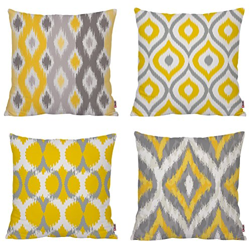Queenie - 4 Pcs Color Coordinated Geometric Ikat Pattern Cotton Canvas Throw Pillow Case Decorative Pillowcase Cushion Cover 17.75 X 17.75 Inch 45 X 45 Cm (Yellow and Grey Bundle Set A Of 4)