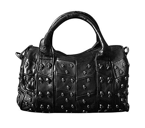 - Women's Genuine Leather Punk Skull Studded Spike Rock Biker Shoulder Satchel Bag