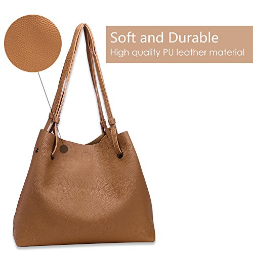 with Fashion Shoulder Matching for Set PU Bags Handbags 2 Satchel Womens Tote Purse Leather Capacity Ladies Wallet Large Top Kaqi PCS x7zqS7Pn