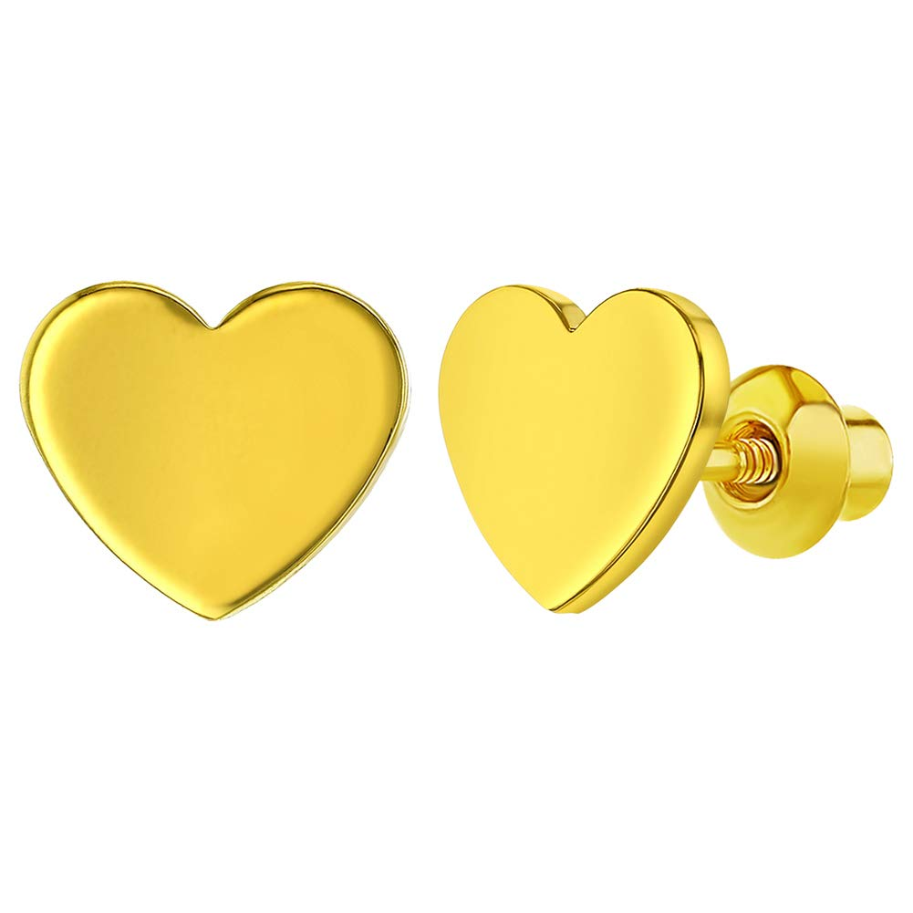 18k Gold Plated Plain Heart Screw Back Safety Earrings Baby Kids Infants