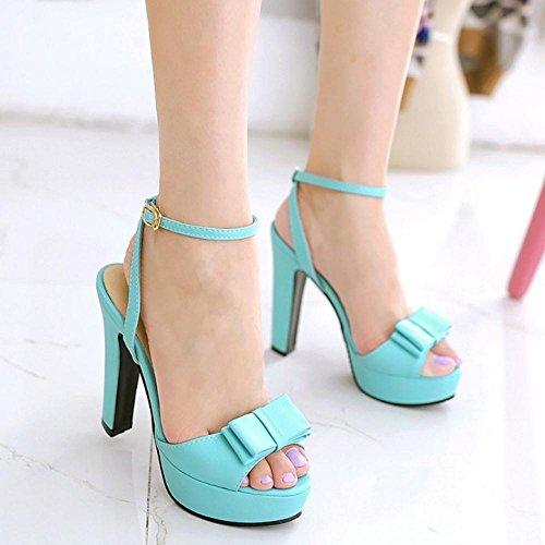 TAOFFEN Mujer Zapatos Moda Tacon Ancho Tacon Alto Plataforma Sandalias De Bowknot De Al Tobillo Azul