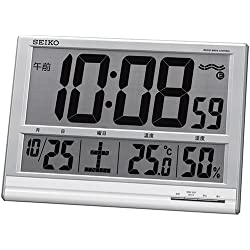 SEIKO CLOCK ( Seiko clock ) wall clock table clock combined digital radio clock temperature display humidity display large clock SQ418S