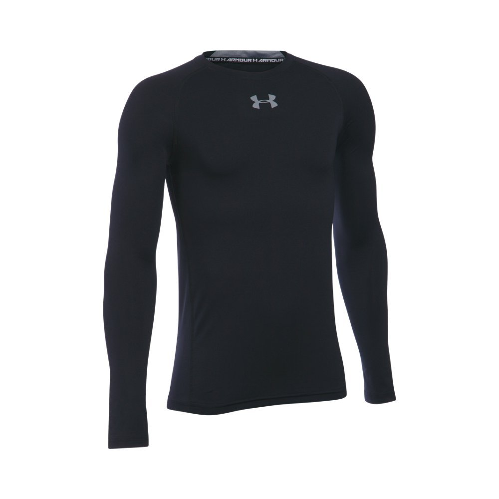 Under Armour Boys' HeatGear Armour Long Sleeve Fitted Shirt, Black /Steel, Youth Large
