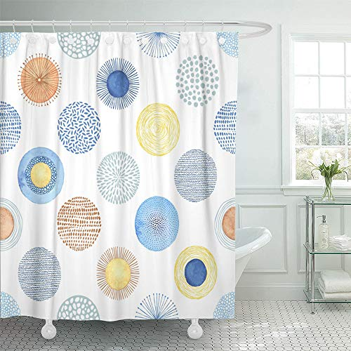 Emvency Shower Curtain Set Waterproof Adjustable Polyester Fabric Blue Geometric Summer Pattern Watercolor Circles Abstraction Colorful on Yellow 72 x 78 Inches Set with Hooks for Bathroom (Starburst Ring Adjustable)