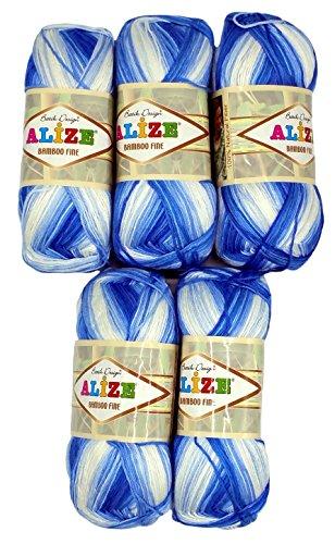 Alize Bamboo Fine Batik wool 5 x 100 gram multicolored (gradient), 500 total grams (17,63 oz) knitting yarn 100% Bamboo natural 2405 yds (2200 meters) (blue white 1833)