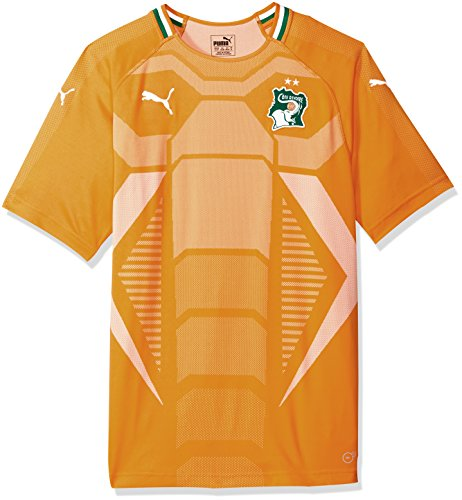 PUMA Men's Standard Fif Ivory Coast Replica Jersey, Home Flame Orange Pepper Green, XL