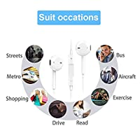 Earphones, Microphone Earbuds Stereo Headphones Noise Isolating Headset Made Compatible with iPhone 7/7 Plus iPhone8/8Plus iPhone X iPhone Xs/XS Max/XR Earphones,Support All System from my-handy-design