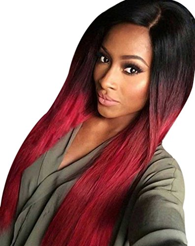 Kalyss Women's 26 Inches Long Straight Dark Rooted Ombre Black To Wine Red Premium Imported Synthetic Hair (Red And Black Wigs)