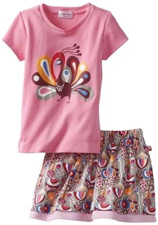 Zutano Little Girls' Toddler Peacock Tee and Flounce Skirt Set, Multi, 2T