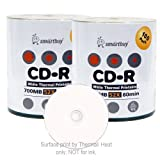 Smart Buy CD-R 200 Pack 700mb 52x Thermal Printable White Blank Recordable Discs, 200 Disc, 200pk