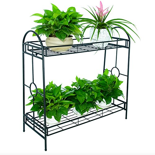 FaithLand Steady Metal Plant Stand Flower Pot/Shelf/Rack/Display/Holder 2-Tier for Indoor Outdoor Decor