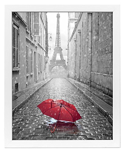 18x24 White Poster Frame with Plexiglass Front By Americanflat - Designed to Display Vertically or Horizontally on a Wall - Mounting Hardware Included (Photograph Framed Display)
