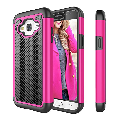 Galaxy Sky Case, J3 /J3 V Case, Galaxy Sol Case, Tinysaturn(TM) [Ysaturn Series] [Rose] Shock Absorbing Dual Layer Rugged Hard Shell Rubber Cover Case For Samsung Galaxy Amp Prime / Express Prime