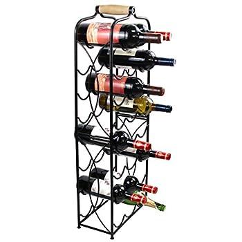 PAG 23 Bottles Free Standing Floor Metal Wine Racks Wine Storage Holders Stands Display Shelf with Wooden Handle, Black
