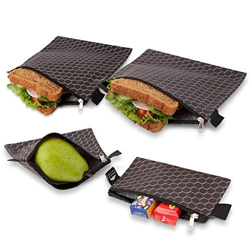 (Nordic By Nature Premium Sandwich & Snack Bags | Designer Set of 4 Pack | Resealable, Reusable and Eco Friendly Dishwasher Safe Lunch Baggies | Easy Open Zipper | Great Value Bags | Black Metal)