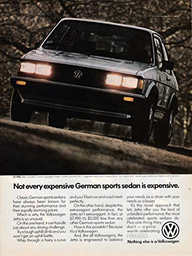 1983 VW Jetta Sports Sedan Volkswagen Cost $7,990-Original Magazine Ad-Beetle