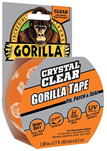 Gorilla Crystal Clear Duct Tape, 1.88 x 9 yd, Clear, (Pack of 1)