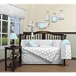 GEENNY Boutique Boy's Baby 13 Piece Crib Bedding Set, Glacier Blue/Gray Chevron