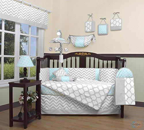 GEENNY-Boutique-Baby-13-Piece-Crib-Bedding-Set-Glacier-BlueGray-Chevron
