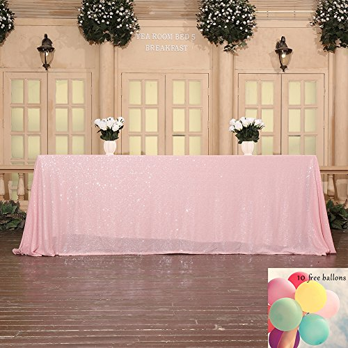 Poise3EHome 60x102 Sequin Tablecloth for Wedding Bridal Shower Party Decoration, Pink ()