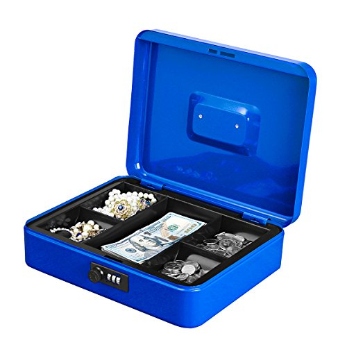 Jssmst Large Cash Box with Combination Lock - Durable Metal Cash Box with Money Tray, Blue, 11.81 x 9.84 x 3.46 inches, CB0702XL ()