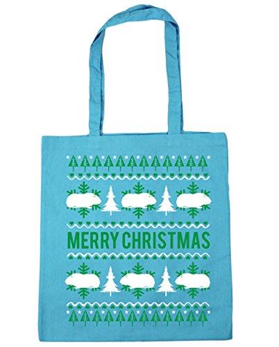 HippoWarehouse feliz Guinea Pig Christmas Tote Compras Bolsa de playa 42cm x38cm, 10litros azul (Surf Blue)