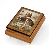 Playful Natural Wood Tone Ercolano Music Jewelry Box - ''Kitten Frolic'' by Brenda Burke - In the Good Old Summertime