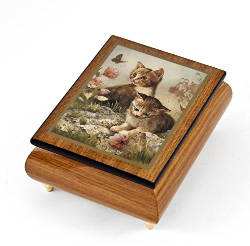 Playful Natural Wood Tone Ercolano Music Jewelry Box - ''Kitten Frolic'' by Brenda Burke - Take Me Home Country Roads (John Denver) by MusicBoxAttic (Image #3)