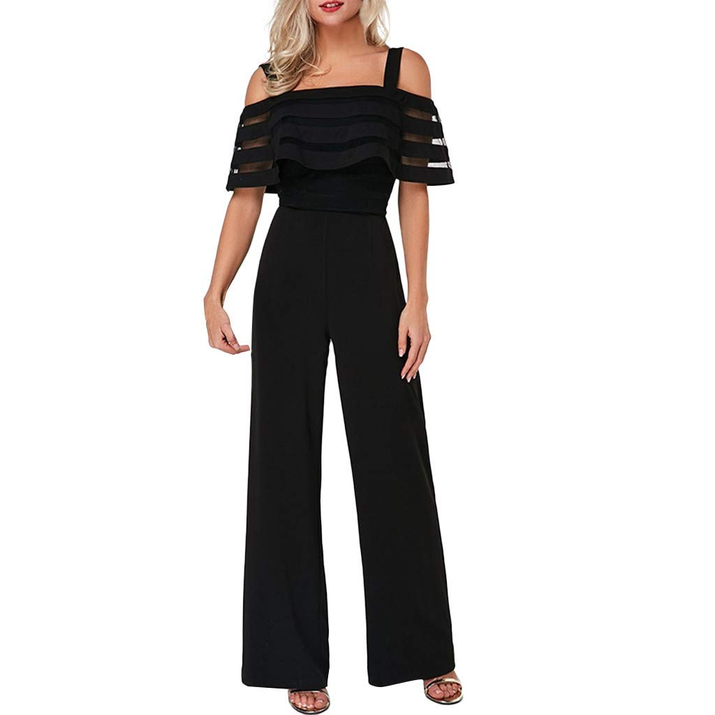 Dreamyth-Summer Women's Boho Print Romper High Waist with Cold Shoulders Solid Color Wide Leg Jumpsuit (Black, L)