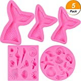 BBTO 5 Pieces Seashell Silicone Fondant Cake Molds Mermaid Tail Molds for Baking Cake Decorations Making Chocolate Sugar Craft DIY Cake Candy