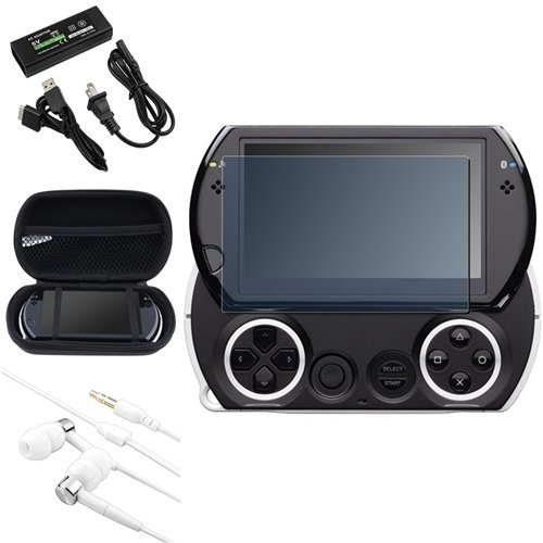 - Insten AC Charger + BK EVA Case + LCD Protector + headset Compatible With PSP go
