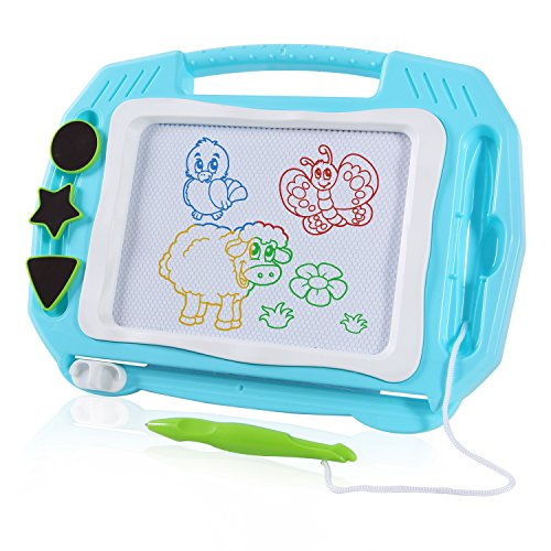 SGILE Magnetic Drawing Board Toy, Travel Magna Doodle Drawing Writing Sketching Pad 3 Stamps, Non-Toxic Colorful Erasable Sketching Pad Tablet Toddler Kids Preschooler, Blue by SGILE
