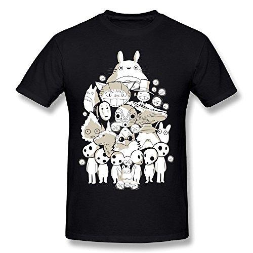Yisw Men Funny Cartoon Animal T-Shirt XXL Black 100% Cotton Novelty Apparel