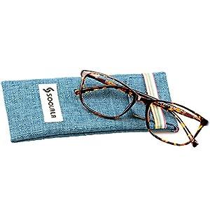 SOOLALA Lightweight TR90 Full Frame Oversized Clear Lens Eyeglasses Reading Glasses, Leopard, +3.0D