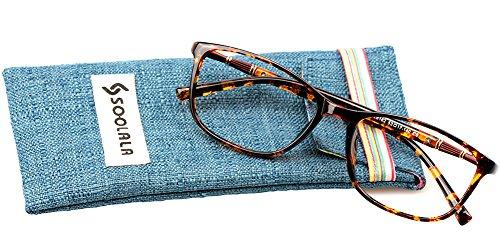 SOOLALA Lightweight TR90 Full Frame Oversized Clear Lens Eyeglasses Reading Glasses, Leopard, - Mens Designer Glasses Online