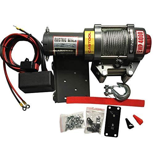 (CASTOOL Single Line Waterproof Electric Winch 12 Volt Recovery ATV/UTV Winch Kits Wire Remote Control 4000LBS Capacity)