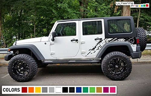 Decal Sticker Vinyl Splash Mud Kit Compatible with Jeep Wrangler JK 2007-2017 (Mud Decal)