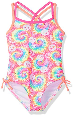 Angel Beach Little Girls One Piece Tye Dye Swimsuit with Emojis, Multi, 6
