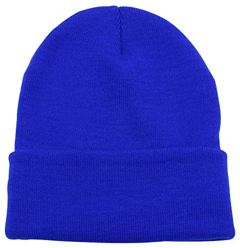 Top Level Unisex Cuffed Plain Skull Beanie Toboggan Knit Hat/Cap, Royal Blue -