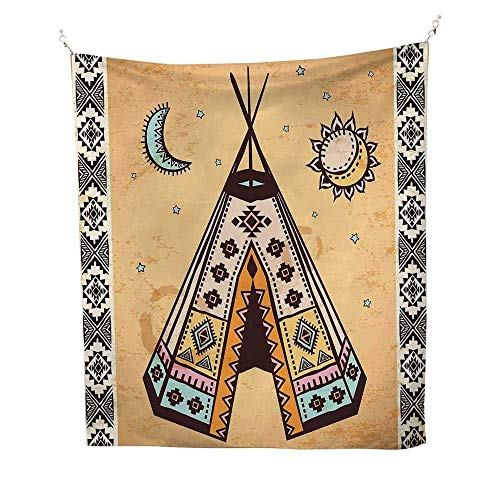 (Tribalcool tapestryEthnic Tent with Ancient Symbols Cultural Unique Bohemian Free Spirit Design 57W x 74L inch Tapestry for wallPale Coffee Brown)