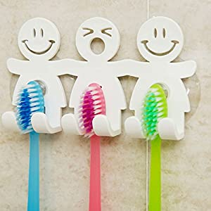 Cute Toothbrush Holder with Suction Cup for Bathroom Wall Smile Face Emoji Home Decor